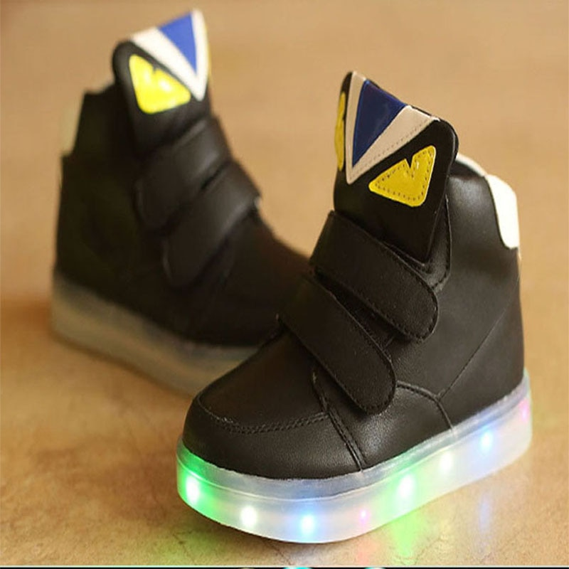 2018 Hook&Loop classic LED lighted children boots All season round toe flat kids sneakers cool cartoon baby girls boys shoes