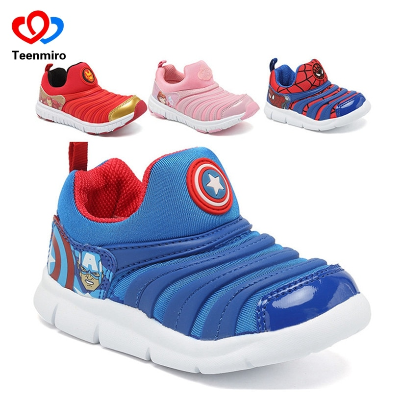2018 New Children's Sneakers for Boys Spiderman Shoes Sport Kids Shoes for Girls Sofia Trainers Baby Soft Sneakers Child Breath