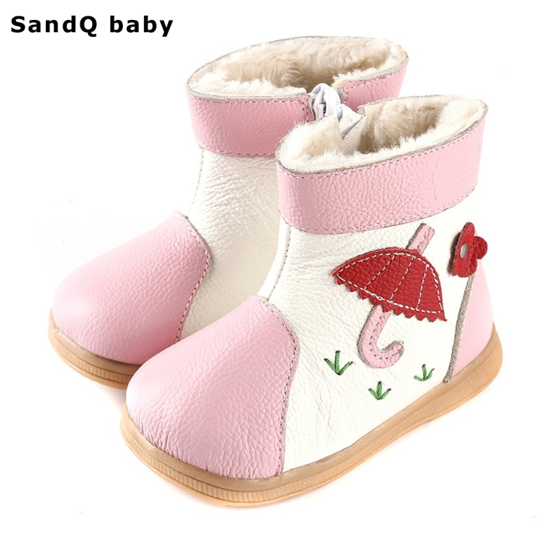 2018 New Winter Fashion Girls Boots Genuine Leather Kids Shoes Thickening Warm Round Toe Children Shoes Velvet Girls Snow Boots