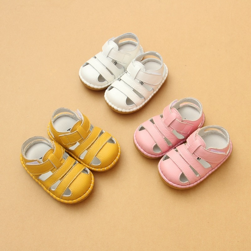 2018 Summer Genuine Leather Baby Boys Girls Sandals Soft Sole Infant Toddler Shoes Pink White Yellow