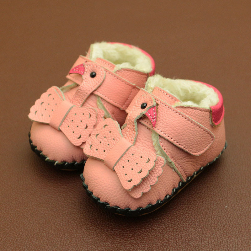 2018 Winter Genuine Leather Infant Toddler Shoes Baby Girls Warm Snow Boots Soft Bottom Baby Shoes Newborn Baby First Walkers
