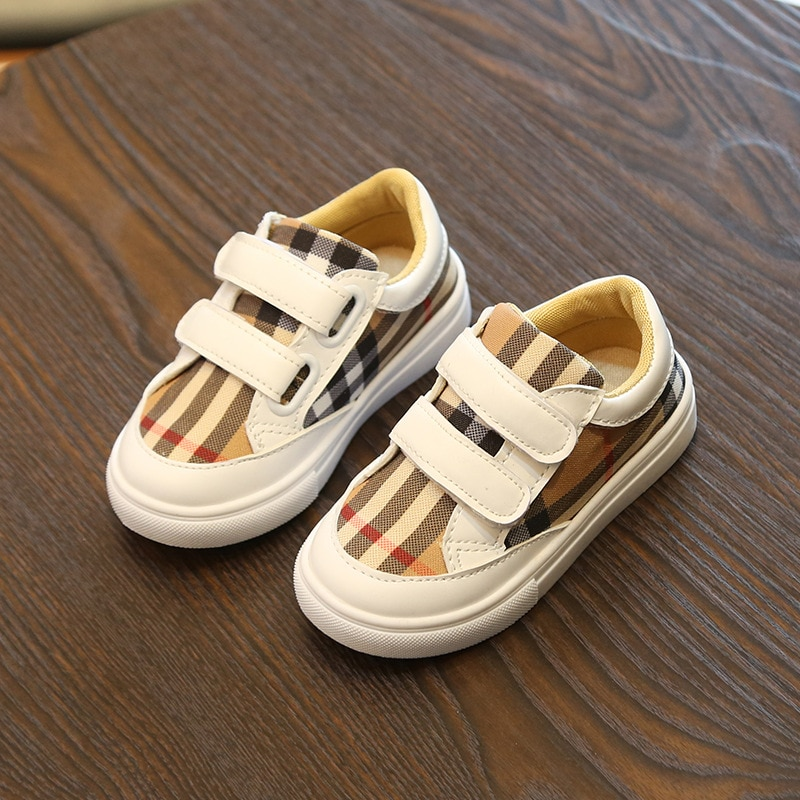 2018 autumn new girls plaid shoes boys wild white shoes baby soft bottom casual shoes EU size 21-30