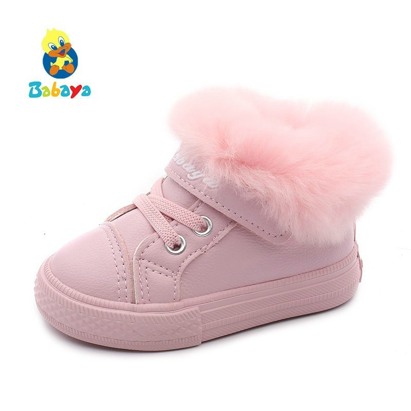 Baby Winter Shoes 1-2-3 Year 2018 Winter Boots Plus Velvet New Fashion Cotton Keep Warm Children Cotton-padded Shoes Toddler