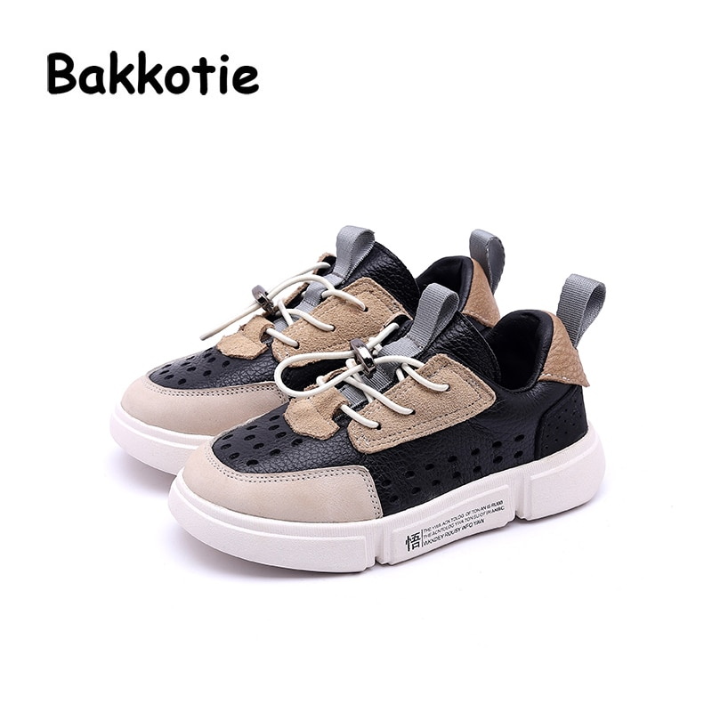 Bakkotie 2018 Spring Fashion New Child Casual Slip-On Shoes Kid Girl Brand Mesh Sneaker Baby Boy Genuine Leather Black Trainer