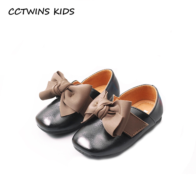 CCTWINS KIDS 2018 Autumn Children Black Slip On Shoe Baby Girl Party Butterfly Flat Toddler Pu Leather Loafer GL1954