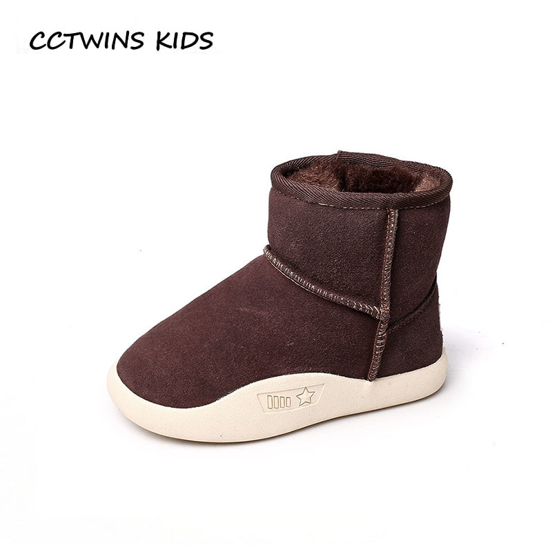 CCTWINS KIDS 2018 Winter Children Genuine Leather Ankle Boot Baby Girl Fashion Snow Boot Boy Brand Warm Shoe Black CS1554