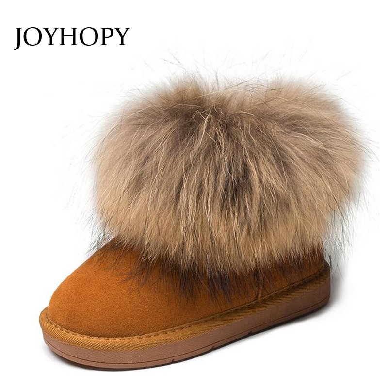 Genuine leather Children Boots Big fur Thick Warm Shoes Baby Girls Boys Snow Boots Winter Kids Shoes