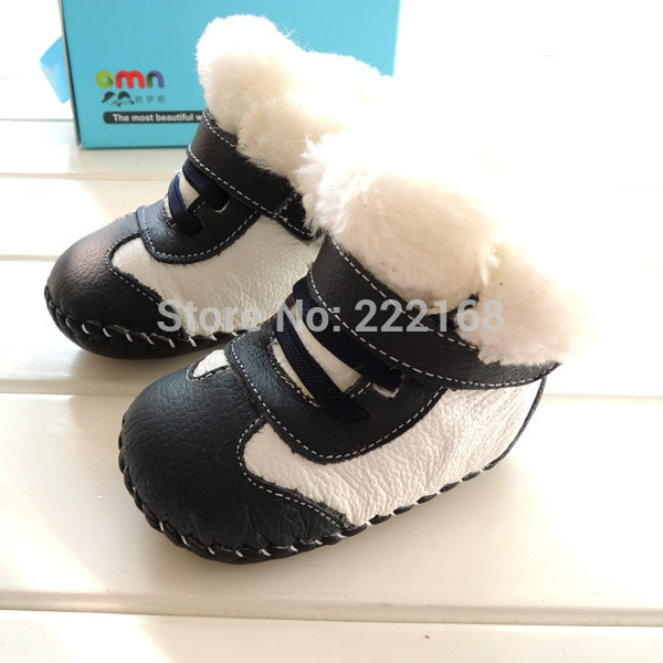 OMN 2018 Winter Genuine Leather Baby Snow Boots Indoor Boys Girls Infant Toddler Shoes Soft Babies Footwears First Walkers