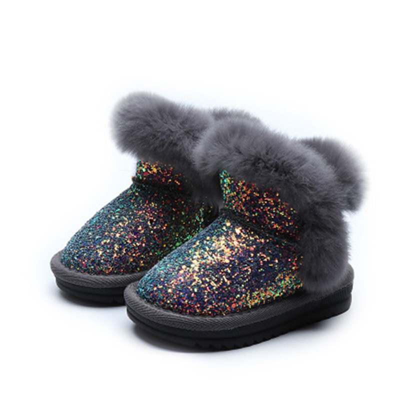 Scsech Winter Kids Boots Sequined Pu Leather Shoes Plush Baby Girls Snow Boots Warm Shoes Toddler Shoes Outdoor Snow Boots S8316