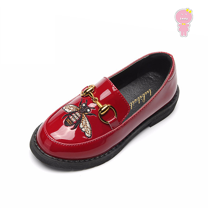 Spring fall embroidery baby girls Patent leather skate shoes kids PU casual shoes Children Brand loafers 15.5-22.5cm