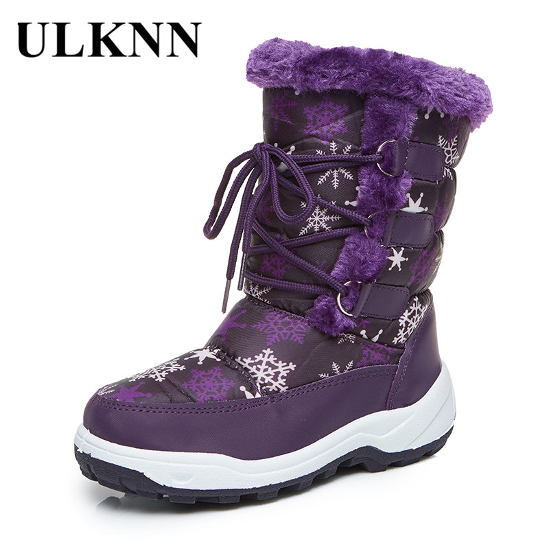 ULKNN Warm Baby Boots Children Girls Boys Waterproof Mid-Calf Snow Boots Kids Winter Shoes Flat with Plush botas meisjes laarzen