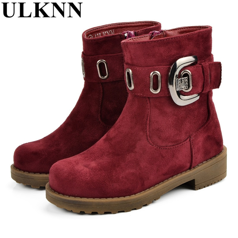 ULKNN Winter Children Shoes High Quality Leather Kids Boots Boys Girls Baby Plush Sole Fur Buckle Zip Waterproof Warm Snow Boots