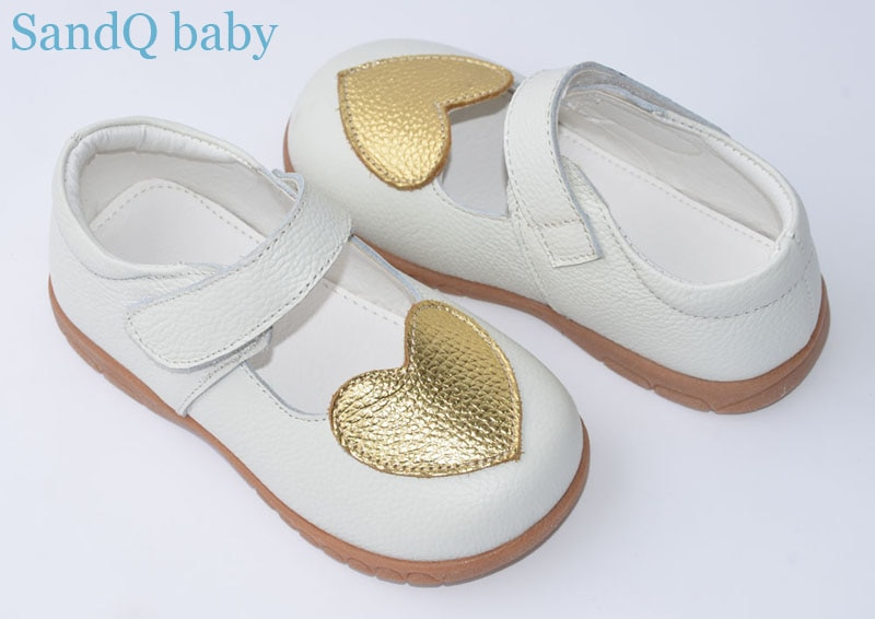 girls shoes genuine leather black mary jane with gold heart children shoes little kids wedding christenning shoe white zapatos