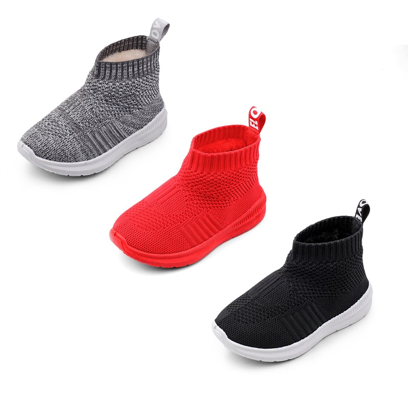 2018 Baby Girl Boy Snow Boots Children Winter Boots Warm Plush Kids Outdoor Boots High Quality Sports Knitted Socks Shoes
