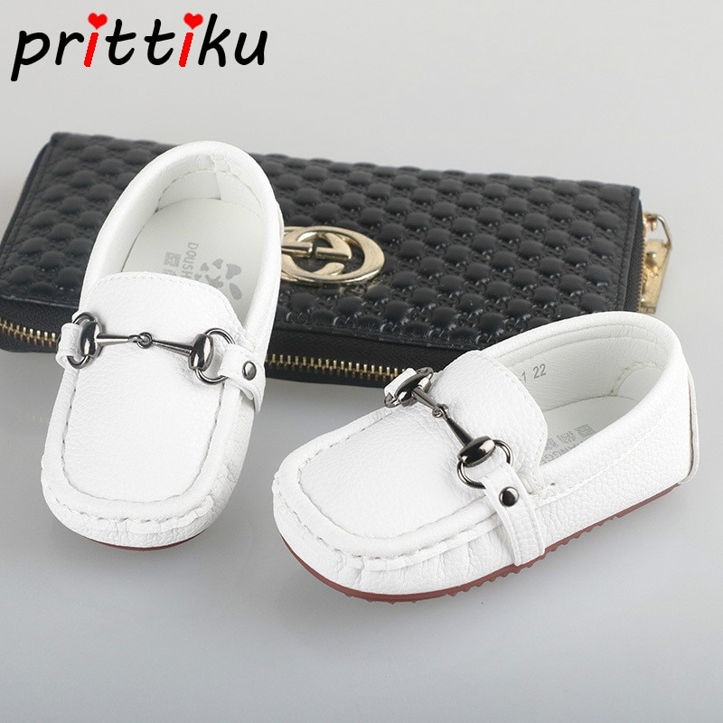 2018 Baby Toddler Boy Girl Leather Classic Loafers Little Kid Black White Casual Flats Children Fashion Brand Formal Dress Shoes