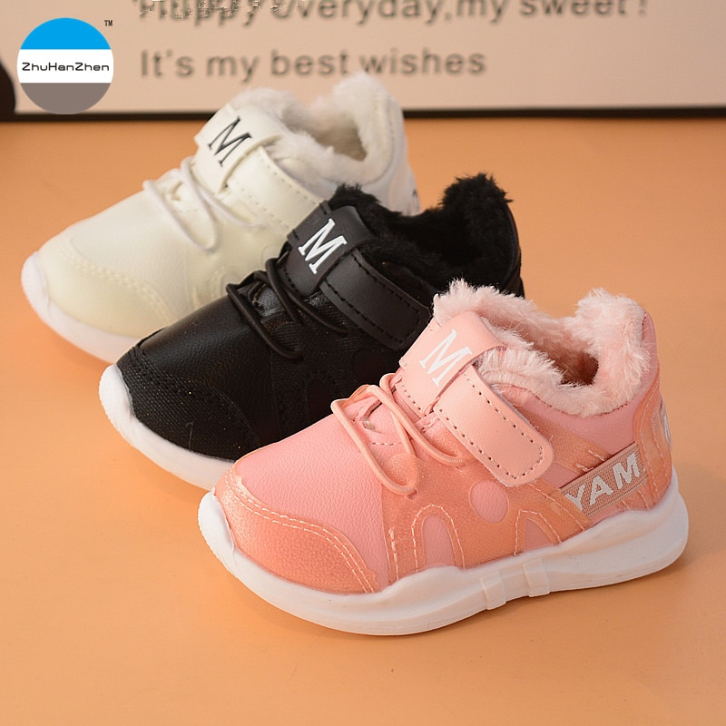 2018 Winter 1 to 5 years old kids sneakers baby boys and girls warm cotton shoes hardy high quality fashion soft bottom shoes