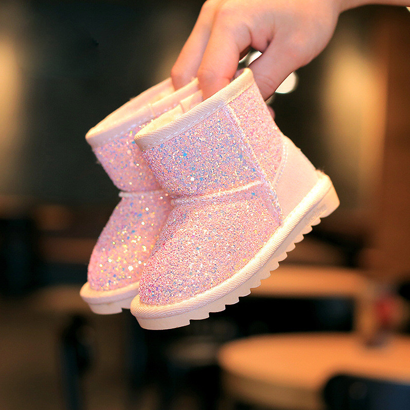 2018 autumn and winter new children's snow boots girls sequins boots princess boots baby thick cotton shoes