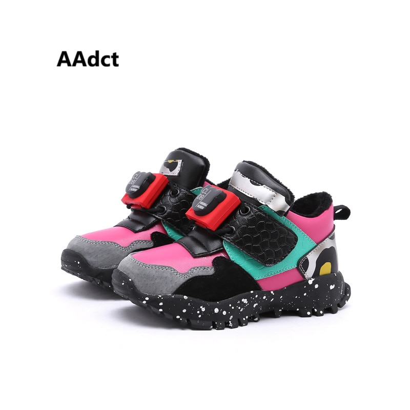 AAdct Genuine leather winter baby shoes cotton fur warm little girls shoes Brand toddler boys shoes sneakers running sports