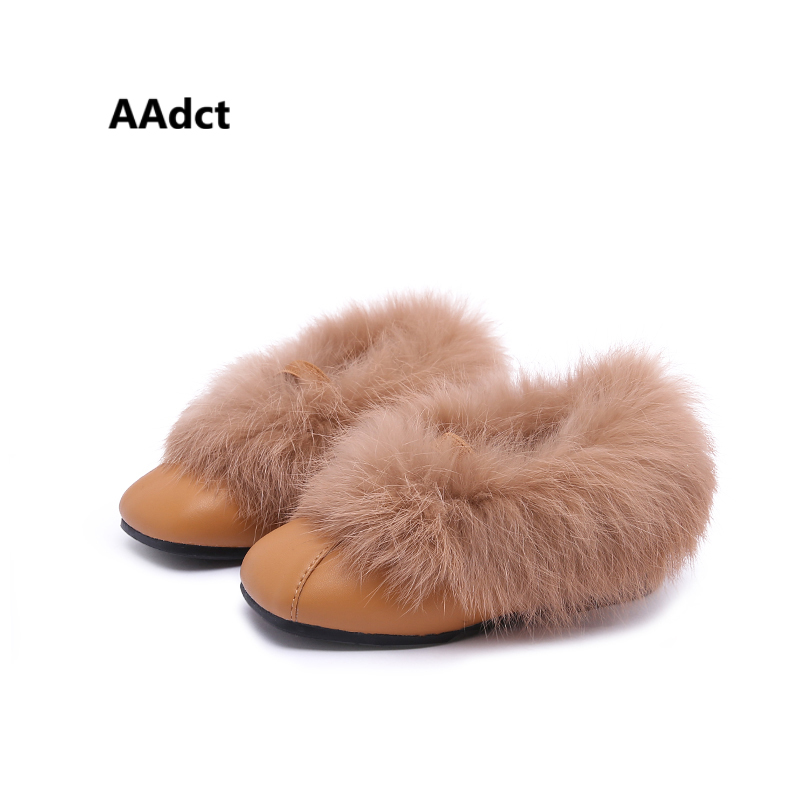 AAdct toddler baby girls shoes cotton fur warm winter leather kids shoes for girls princess new little children shoes Brand