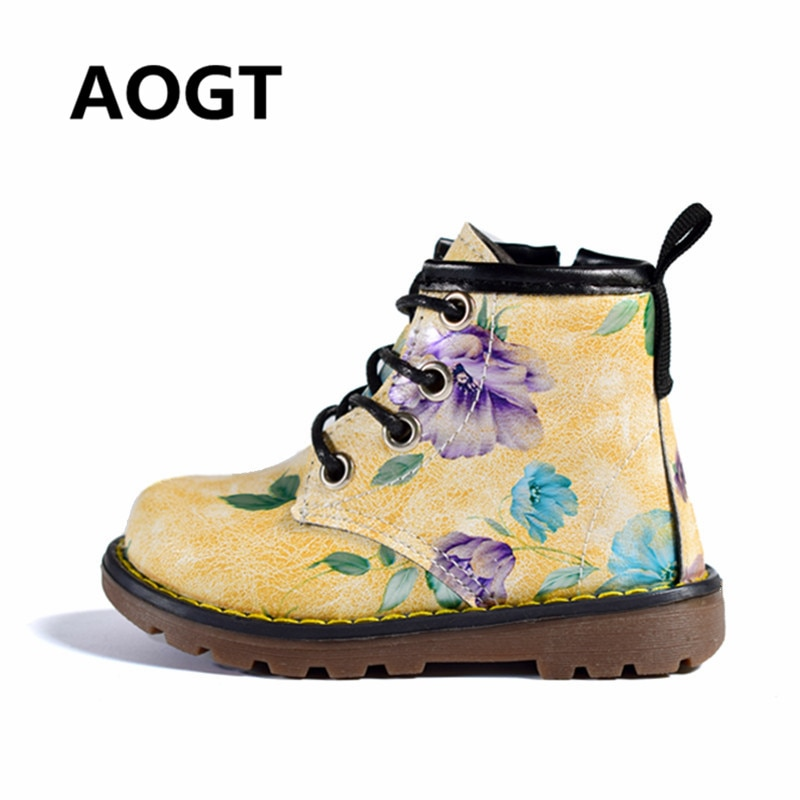 AOGT 2018 New Children Boots Girls Leather Autumn Martin Boots Fashion Cute Flowers Kids Shoes For Girl Winter Baby Boots Shoes