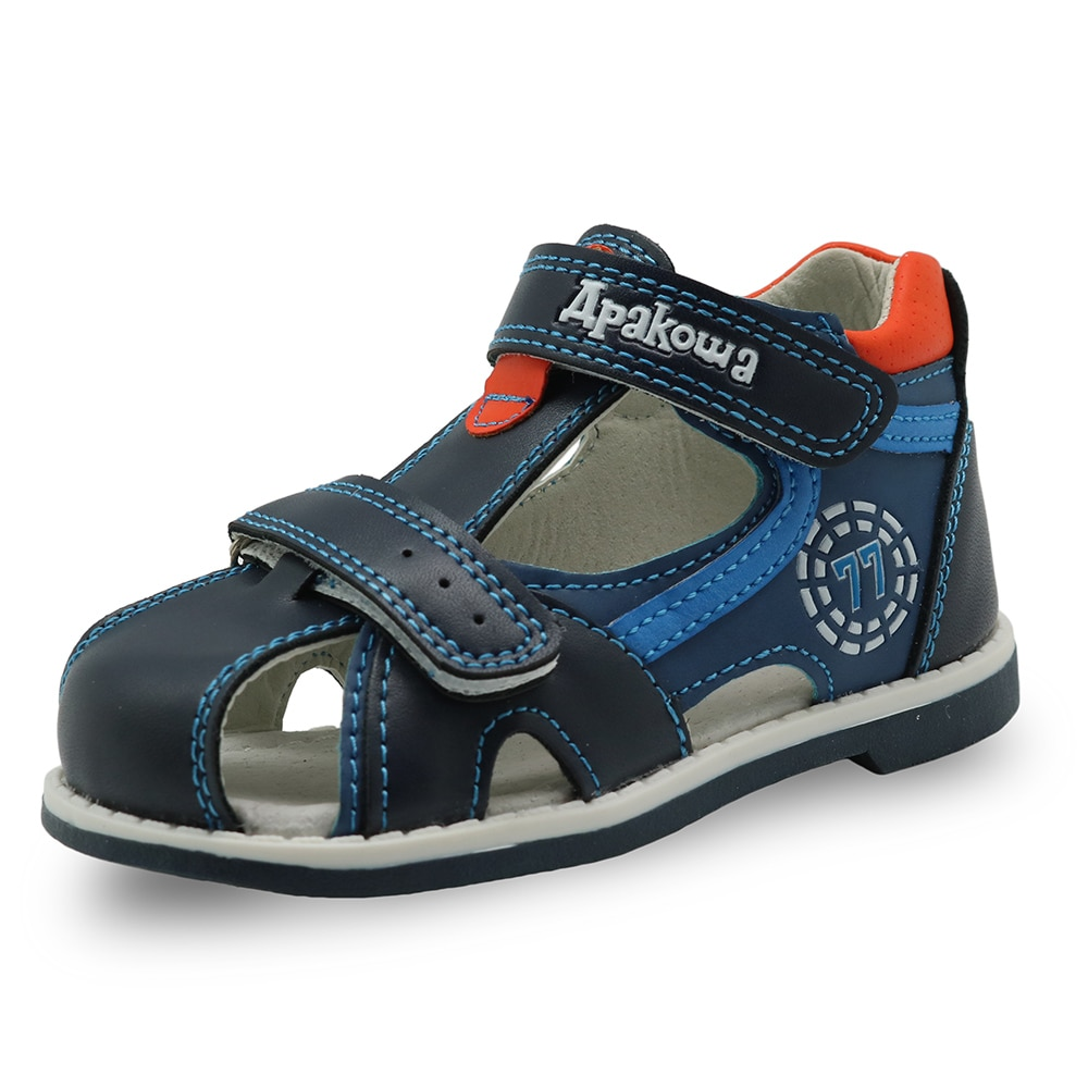 Apakowa 2017 summer kids shoes brand closed toe toddler boys sandals orthopedic sport pu leather baby boys sandals shoes