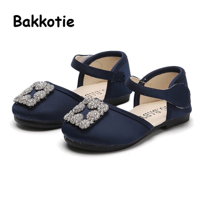 Bakkotie 2018 Spring New Fashion Baby Girl Princess Shoe Toddler Rhinestone Soft Flat Children Sweet Party Brand Black Mary Jane