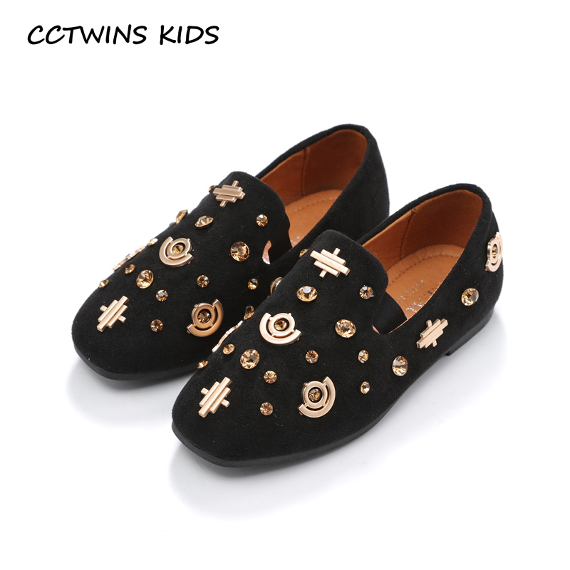 CCTWINS KIDS 2018 Autumn Children Rhinestone Loafer Baby Girl Fashion Pu Leather Flat Toddler Brand Slip On Shoe GL1950