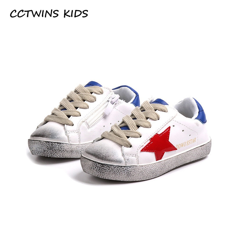 CCTWINS KIDS 2018 Fashion Baby Girl Sport Star Shoes Toddler White Sneakers Children Boy Pu Leather Casual Mesh Trainer FSL2246