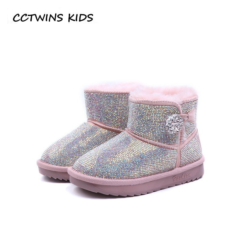 CCTWINS KIDS 2018 Winter Children Fashion Snow Boot Baby Girl Brand Rhinestone Shoe Toddler Black Ankle Boot CS1651