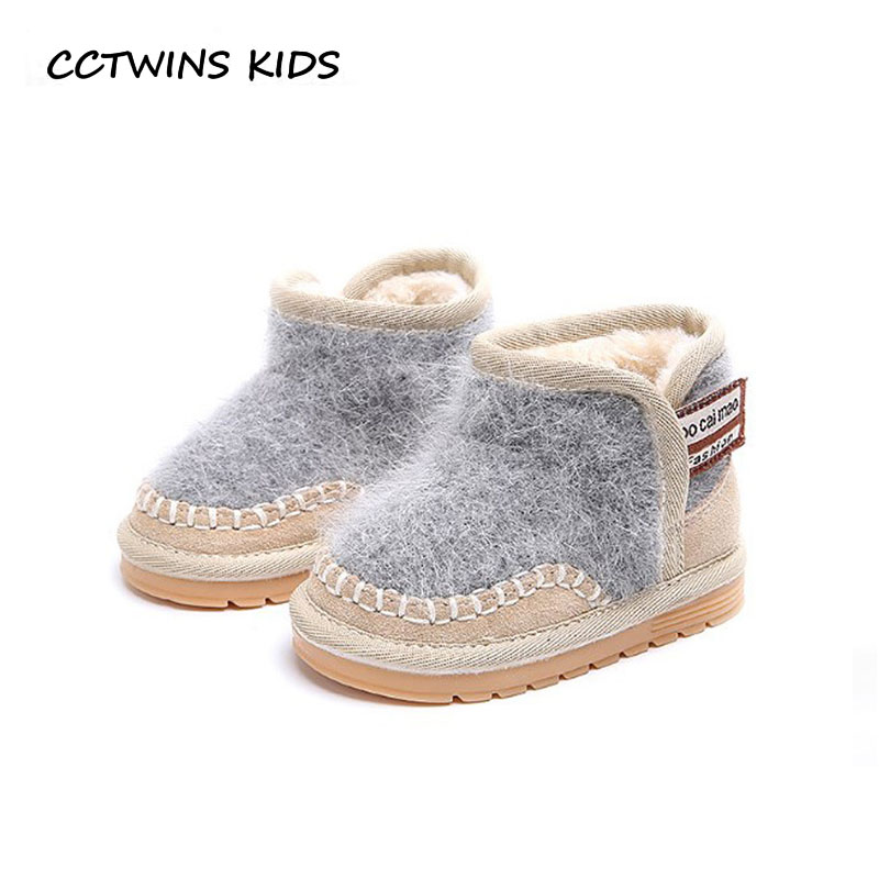 CCTWINS KIDS 2018 Winter Children Genuine Leather Ankle Boot Baby Girl Fashion Snow Boot Boy Brand Warm Shoe Toddler CS1536