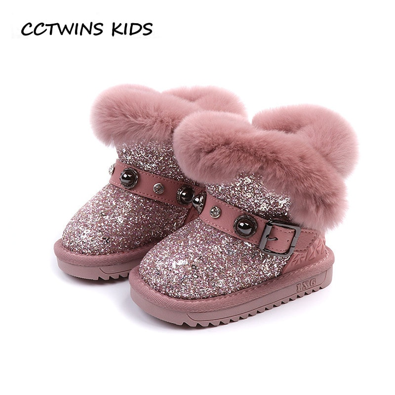 CCTWINS KIDS 2018 Winter Girl Fashion Mid Calf Boot Children Warm Glitter Snow Boot Baby Brand Black Shoe Toddler CS1606