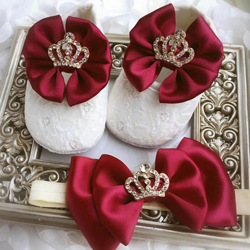 Custom Sparkle bow princess rhinestone baby Shoes baby toddler bling First Walkers baby girl shoes Noble wine red hairband