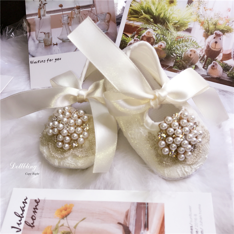 Ivory Lace Vintage Luxury Pealrs Charm Baby Girl Gift Shoes Wedding Handmade Sweet Princess Shoes Bling infant 0-1 shoes