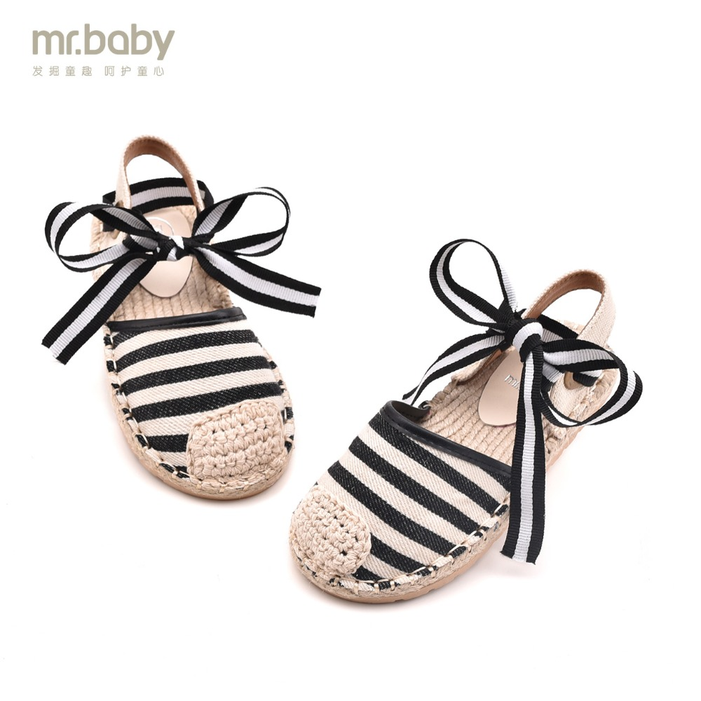 Mr. baby Original Children's shoes 2018 Summer New Sweet Breathable Comfortable Canvas Bowknot Girls Sandals
