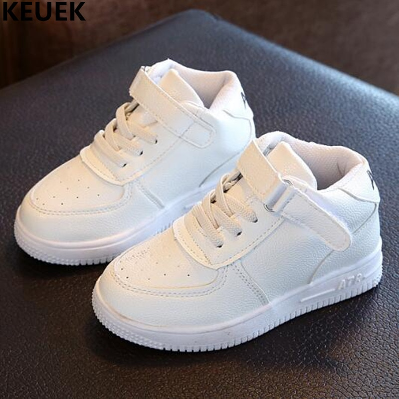 New Spring/Autumn Single Shoes Child Sneakers Student Sport Flats White Black PU Leather Boys Girls Toddler Kids Shoes Baby 019
