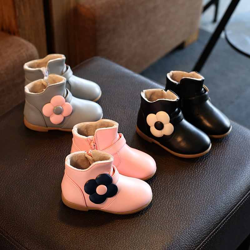 New Toddler Baby Flower Children Kids Little Girl Autumn Winter Leather Snow Boots For Girls School Zipper Princess Shoes Boots