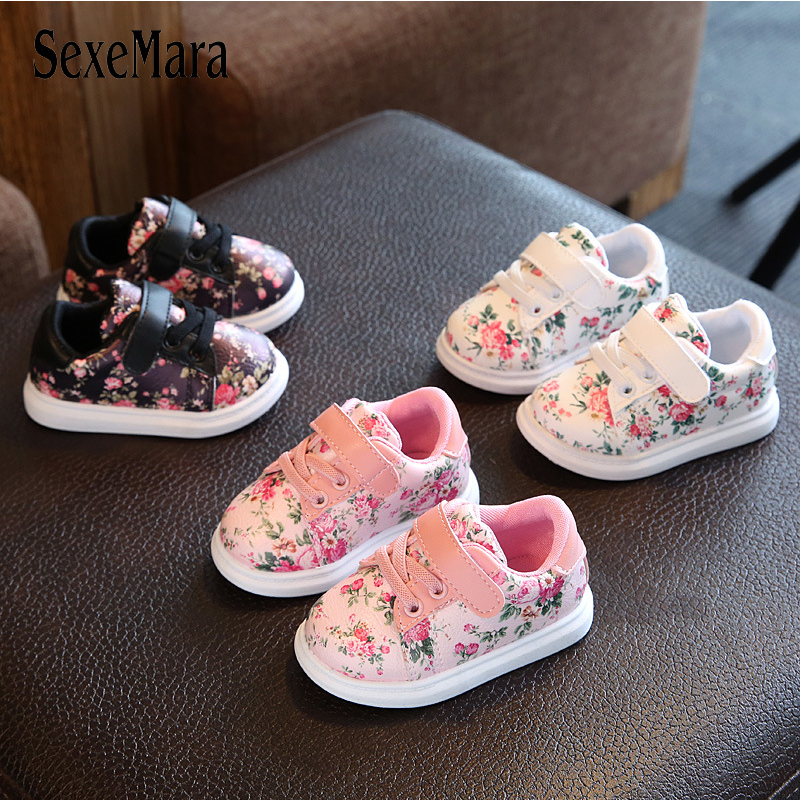 Spring/Autumn Print Floral Children Shoes for girls 2017 New Baby Shoes Flower Sneakers Boys Black/Pink/White Kids Shoes A10272