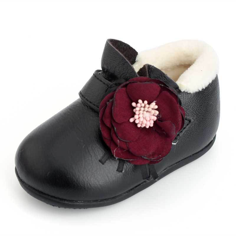 XQT.GZ Brand 0-12M Baby Footwear Baby Cotton Shoes Genuine Leather Baby First Walkers Winter Warm Shoes Girls Flowers Shoes