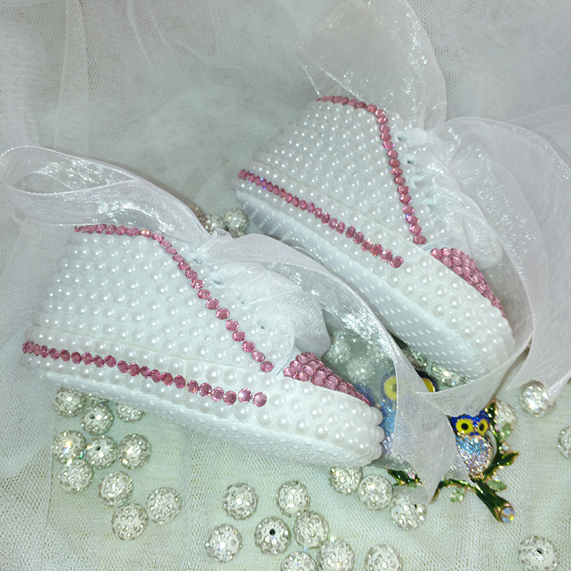 free shipping rhinestone Crystal Baby Girl's Child kids shoes handmade Bling Pearl ribbon First Walkers bead soft princess shoes