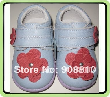 girls shoes genuine leather baby blue with red flowers purple sole kids floral shoes spring autumn 2017 sale SandQ baby