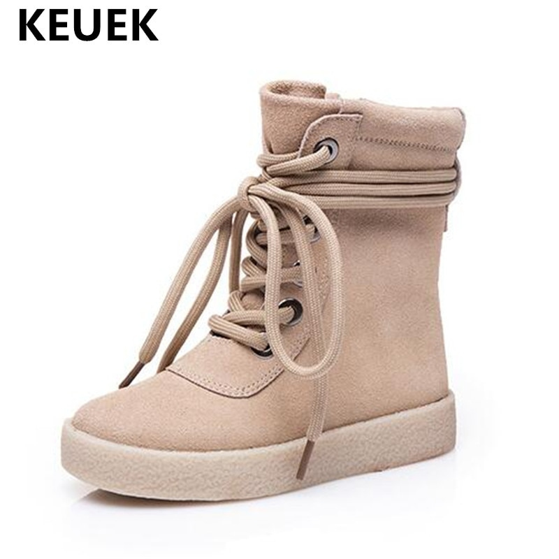 2018 Autumn/Winter Children Shoes Genuine Leather Kids Boots Fashion Ankle Strap Martin boots Boys Girls Snow Boots Baby 02