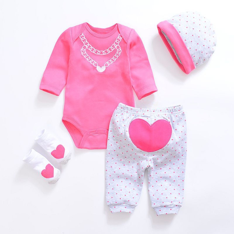 2018 Baby Girl Clothes 4pcs Clothing set Pink Cotton Romper White Dot Pant Heart Shoes Cuties Hat Newborn Clothes