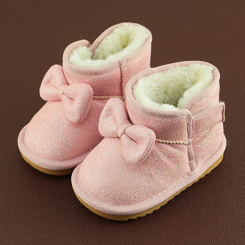 2018 Fashion Bling Butterfly-knot Baby Girls Snow Boots Winter Warm Infant Baby Toddler Shoes Fashion Bow Girls Snow Boots