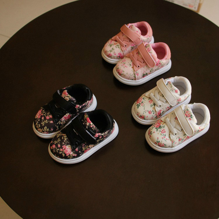 2018 Fashion Flower Baby First Walkers Baby Shoes Pu Leather Sneakers for Baby Girls