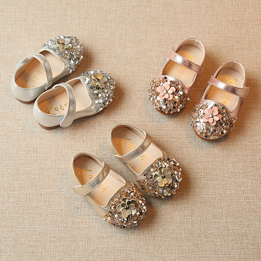 2018 New Fashion Diamond Flower Girl Baby Princess Flats Shoes 0-2 Year Old Toddler Leather Shoes Hot Dress Shoes