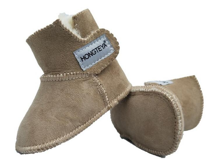 2018 Winter 100% PURE Australian Sheepskin Handmade Baby Bootie Suede Super Warm With fur Baby Boys Girls Boots Baby Shoes