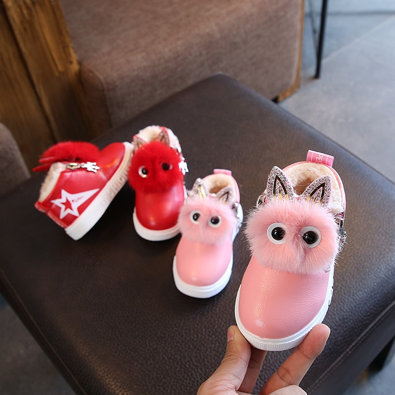 2018 Winter Baby Girls Snow Boots Thick Warm Plush Female Children Boots Cartoon Outdoor Windproof Kids Boots Cotton Shoes