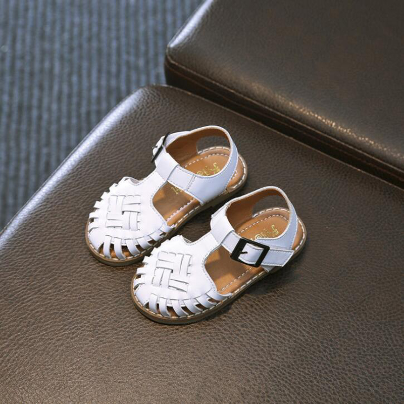 2018 summer boys & girls sandals genuine leather kids sandals shoes buckle decor baby girls sandals hook&loop beach shoes