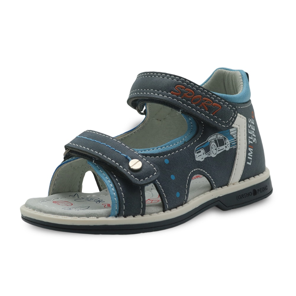 Apakowa Brand Boys Shoes New 2018 Summer Kids Sandals Pu Leather Flat Children's Shoes for Toddler Boys Orthopedic Baby Sandals