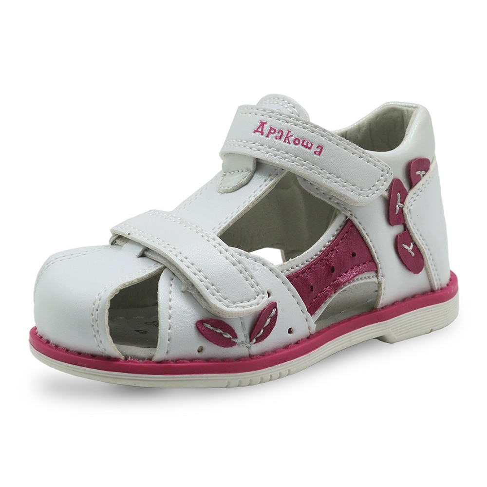 Apakowa Brand New 2018 Girls Sandals Pu Leather Toddler Kids Shoes for Girls Orthopedic Closed Toe Baby Flat Shoes Eur 20-25